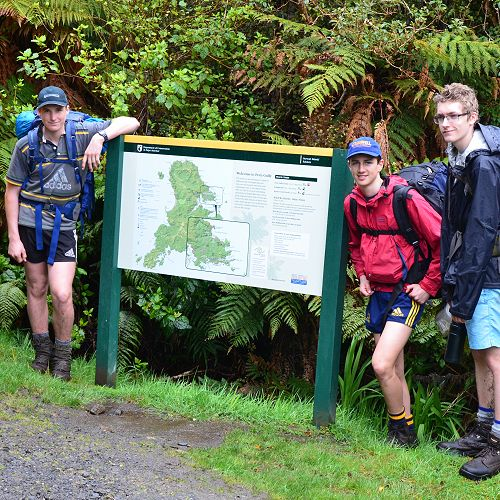 Year 12 group (Charlie, Will, Ben and Cullan) at the end of the track on day 4