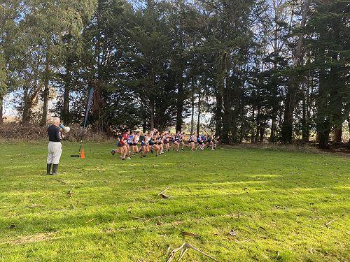 Senior girls runners begin the cross country relay