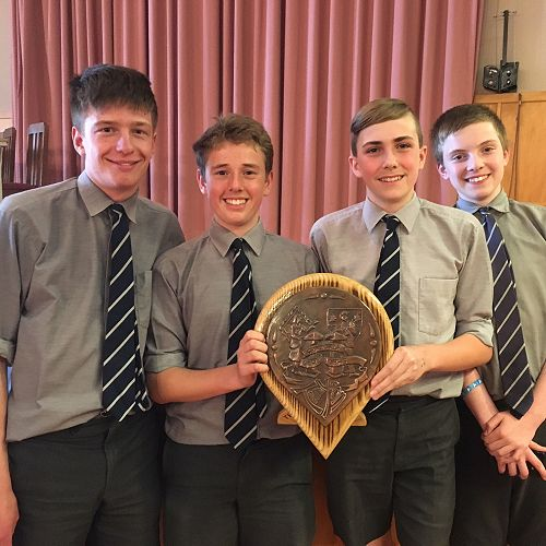 Cobly Allen, Sam Hewson, Angus Henderson and Bailey Cavanagh-Welch with the Tennyson Shield