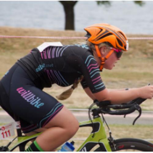 Sarah Ford racing home on the bike