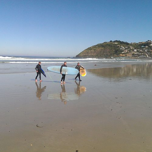 Year 11 Outdoor Education Surfing. From left; Cody Turner, Sam Cook and Caleb Shaw.