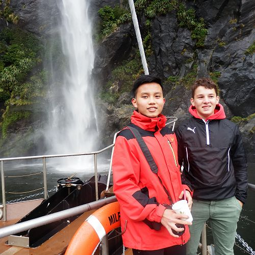 Students Anh Ha and Juri Friedlaender enjoy a trip to Milford Sound