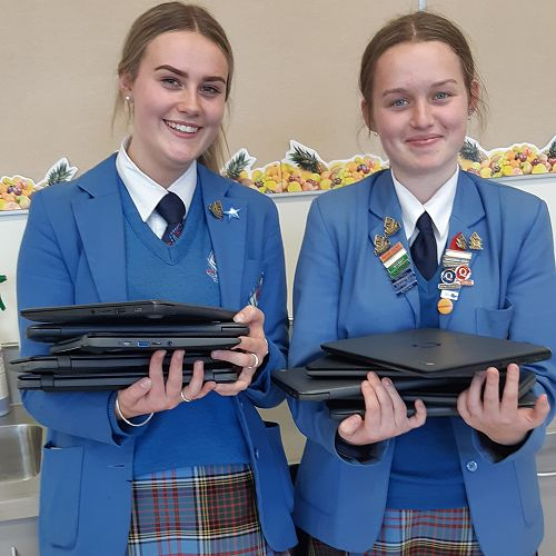 Emma-Rose Hollander and Jess Pelvin-Phillips with some of the new devices purchased by the PSTA.