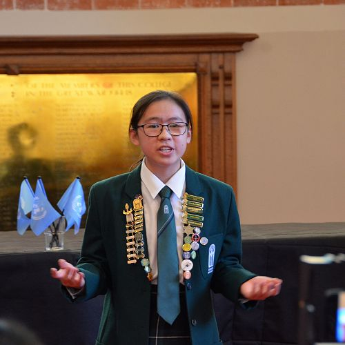 E Wen Wong 12WTAW delivers her speech at Victoria University.