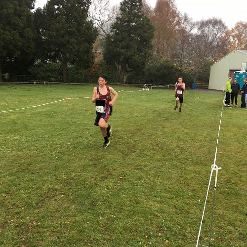 Jago Armstrong finishing strongly in the Otago Cross country champs held at KVC.