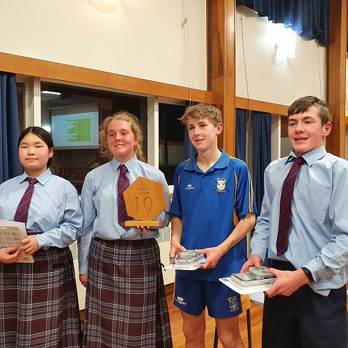 Sieun Park, Annie Henderson, Carter West and Findlay Grant the winning Yr10 team in the Aoraki Mathematics Competition 2021