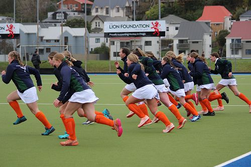 First XI Hockey in full flight during their warm up