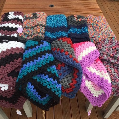 Dianne's collection of crochet blankets, make during lockdown 2020
