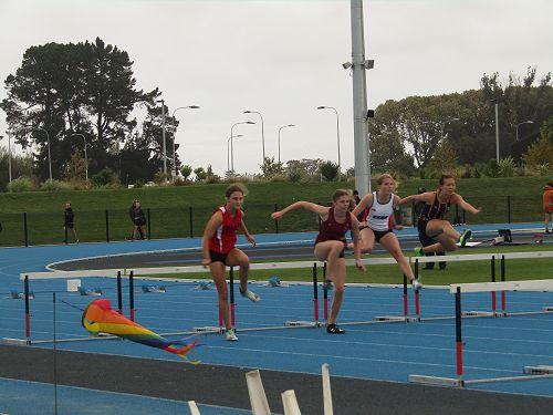 Monica McDonald in the Under 16 hurdles
