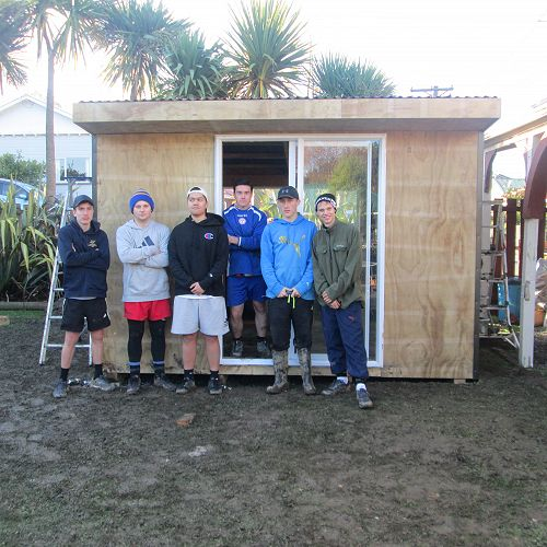 Senior building boys complete the first shed for 2017 with the help of David Dougherty