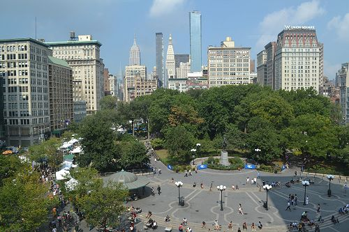 Union Square with a view of the Green Market and the Empire State Building