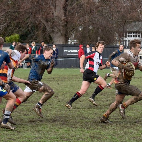 First XV captain and deputy head boy Rory Ferguson bolts for his 4th try