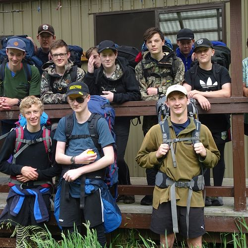 Hollyford Track team at Hidden Falls Hut, Day 2