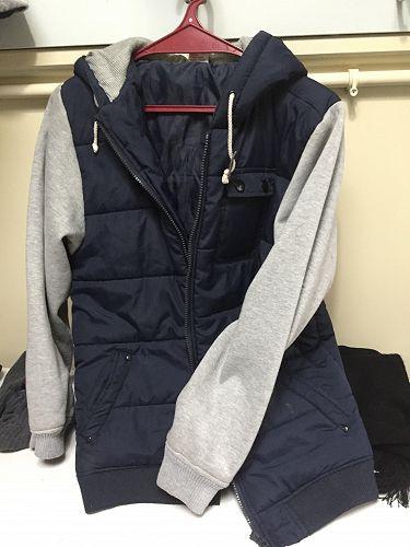 Blue jacket, grey sleeves