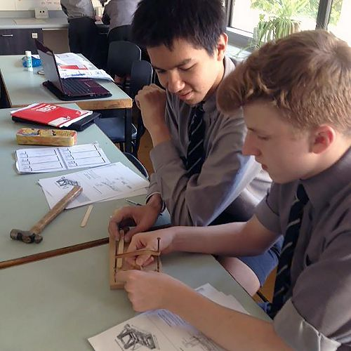 Yr10 students Tom and Leo are designing and buildi