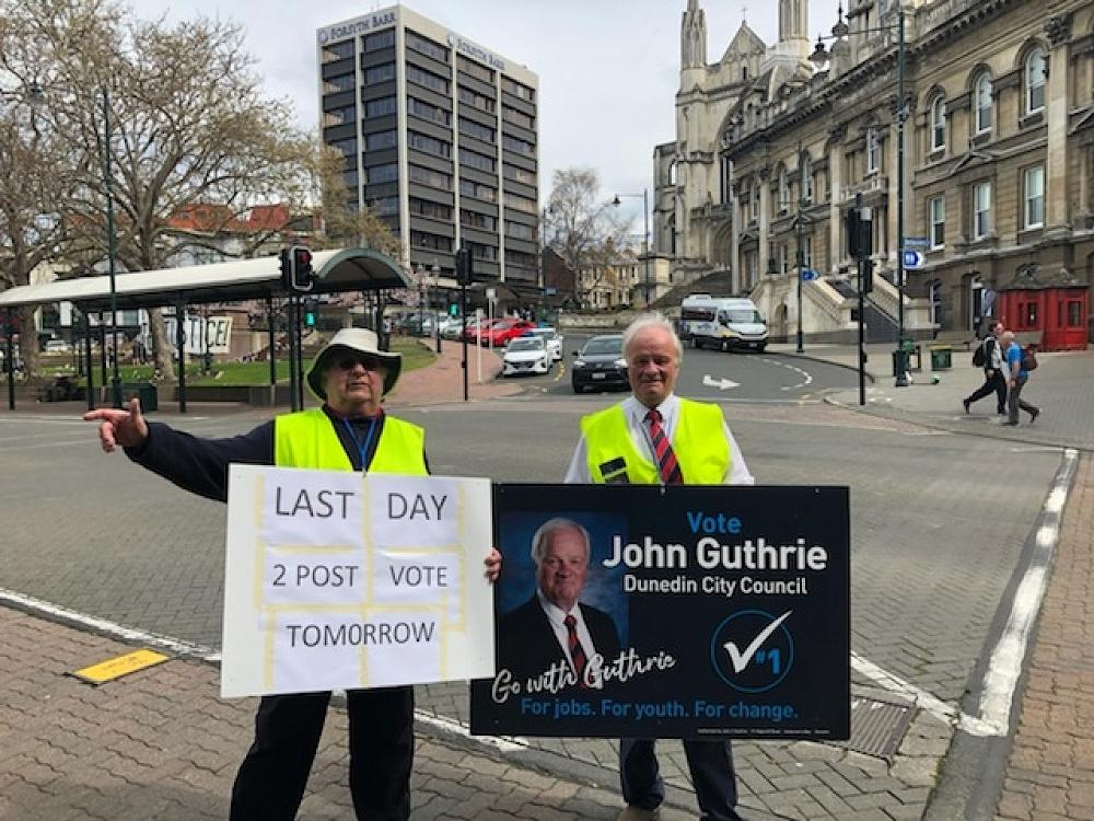 Tom Ross and John Guthrie on the election trail