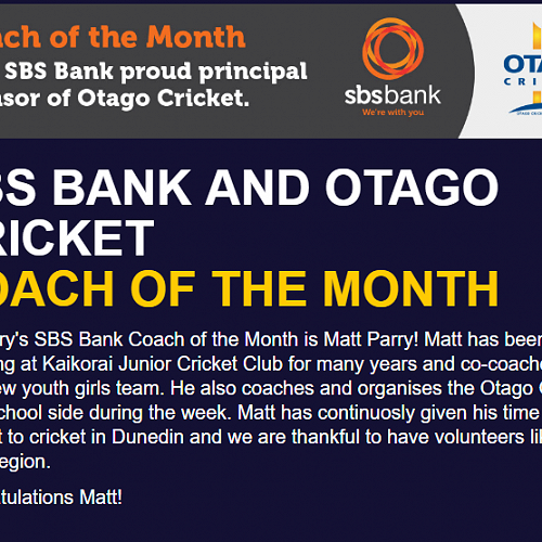 Cricket Coach of the Month