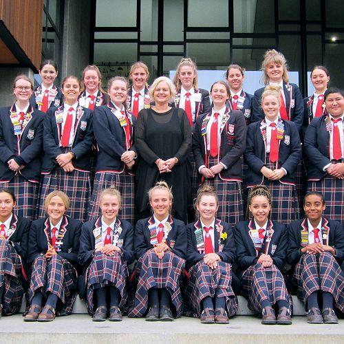Principal Christine O'Neill and the CGHS Prefect Team