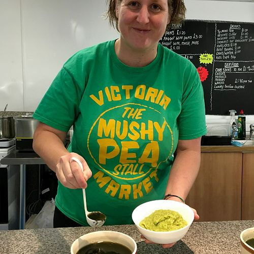 Claire Fisher's Mushy Pea Stall, Victoria Market, Nottingham