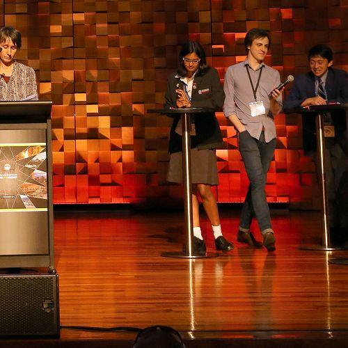 Daniel Wei competes in the finals of the Australian-New Zealand Brain Bee finals in Hobart.