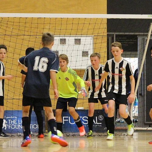 Dylan Butterworth (left) Brodie Cooper (GK) Shay Hyde-Coltman and Matthew Rogers defend their goal