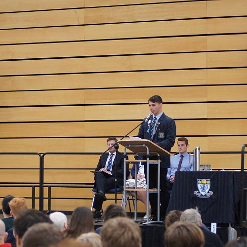 Nathan Hastie addresses his peers