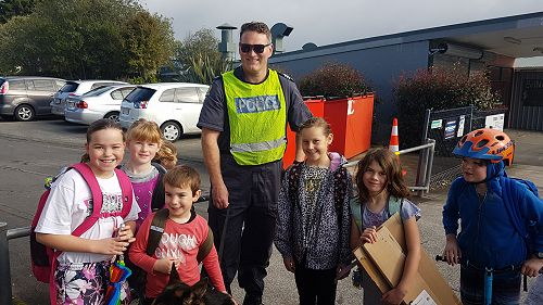 Some of our Kaurilands Walking School Bus with Zac and his handler