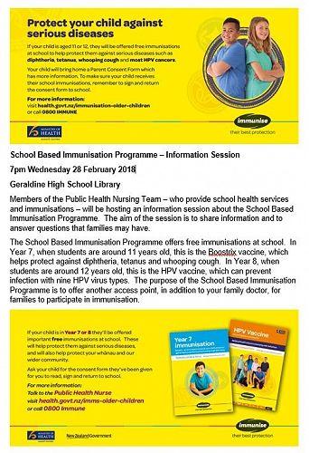 School Based Immunisation Programme
