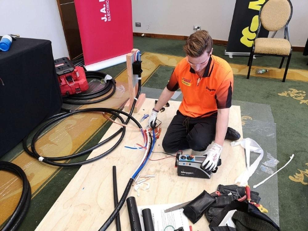 Zac competing in theMaster Electricians Apprentice Challenge 2019