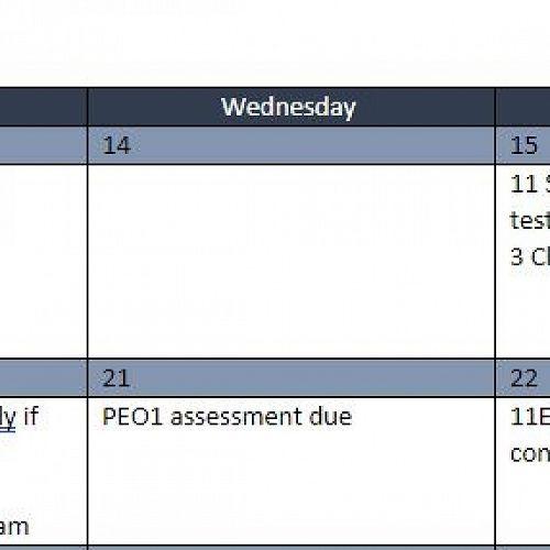 Assessment Calendar for Term 4, Week 1-2 Year 11