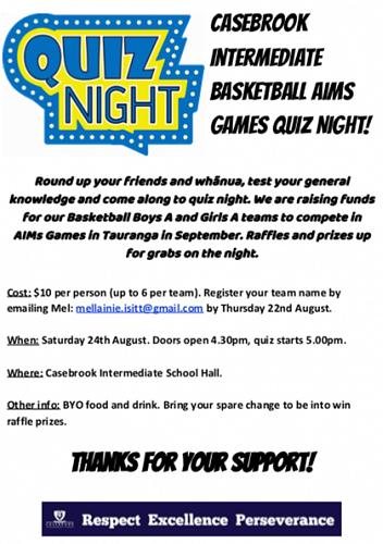 Basketball AIMs Games Quiz Night - Casebrook Intermediate