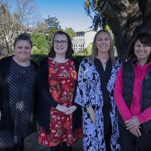 Our Kaiarataki (Heads of House). From left to right: Aeronwy Cording, Lydia Mills, Kalina Harmer-Campbell, Heather Lindsay