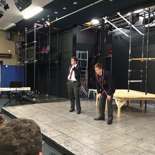 Harrison Lawrence and Alfred Richardson battle it out on stage in the JMC Theatresports team