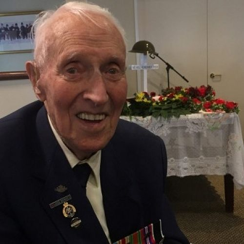 Wattie Thomas, 99, with his World War II medals at the Rowena Jackson Anzac Day service.