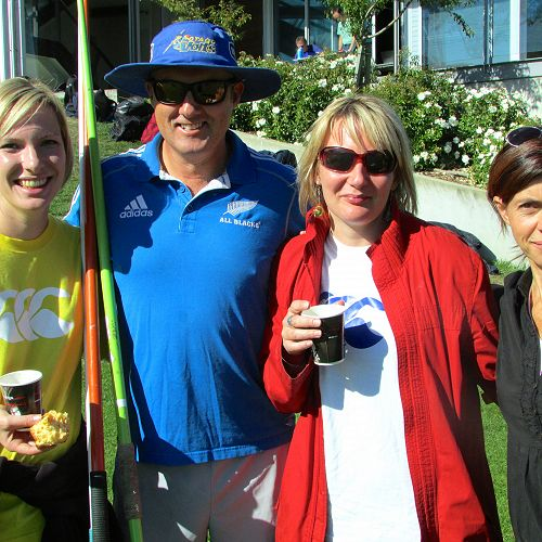 Ms Rapson, Mr Hore, Mrs Noble, and Mrs Renner, at the Tuesday Athletics prelim.