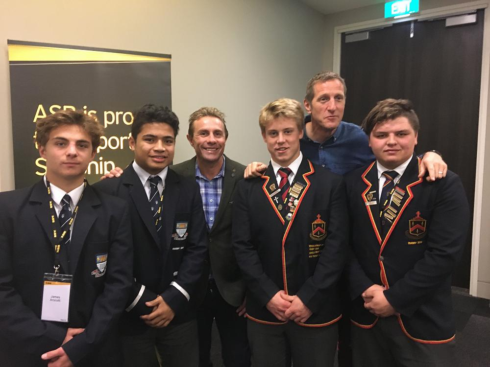 The four student leaders with Justin Marshall and Will Greenwood