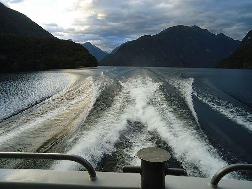 On the boat cruise on Doubtful Sound heading towards the Tasman sea.