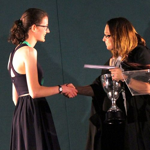 Lucy Douglas being awarded Dux by Principal, Carolyn Pentecost