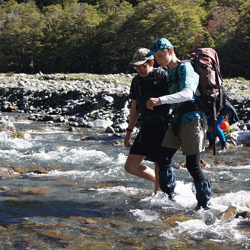 Danny and Macauley cross the Temple North Branch