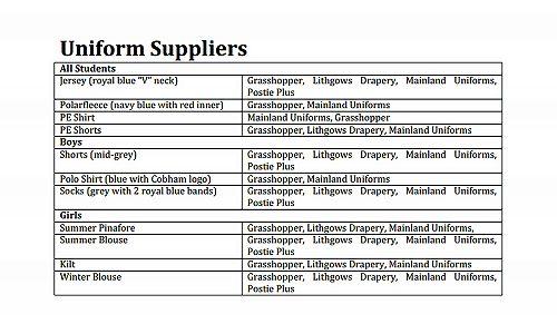 Uniform suppliers