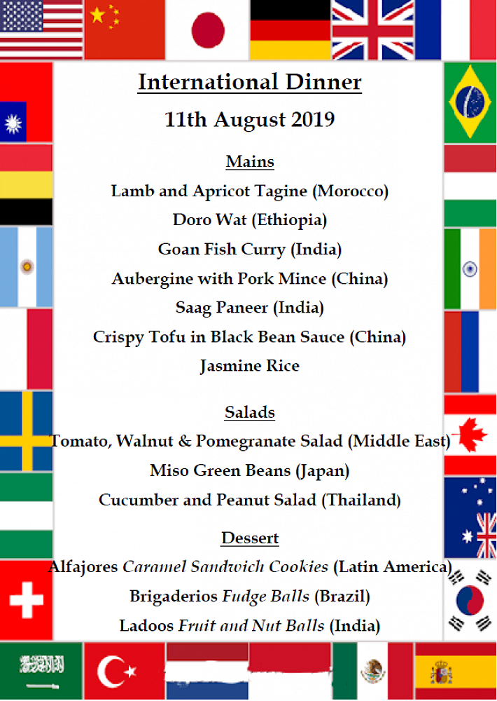 International Formal Dinner Menu
