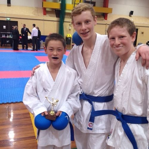 Riley and Keegan Hall won the boys 10-13 team kumite event at the Canterbury/Westland regional karate championships