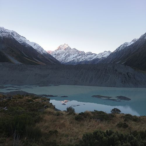 Aoraki Mount Cook over Mueller Lake at Sunset. Not a bad spot...
