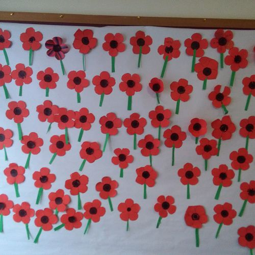 Poppies made by the students during lunchtime at the Library