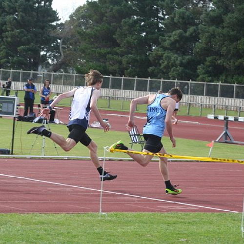 Max Aitcheson  winning the Under 19 100m