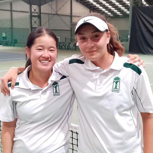 Juliette and Alkmini -Canterbury Secondary Schools Doubles Champions