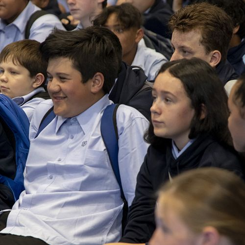 New Year 9 students give the Principal, their fullest attention.