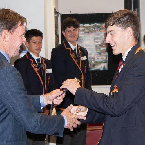 Ned Hancox receiving his Prefects' Tie
