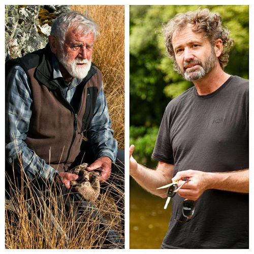 Left: 2019 Wild Hero Sir Alan Mark, right: Freshwater Ecologist Dr Mike Joy in conversation at Hutton Theatre, Otago Museum on Sunday 28 April 3pm.