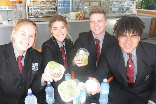 From left are Nayland College student leaders Zoe Fitzgerald, Mia Faulkner, Ben Dowdle and Joseph Meleisea at Kuaka Café. Photo: Kate Russell.